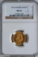 Dukat 1914 Österreich Gold Habsburg Franz Josef NGC Holder Erhaltung MS-63