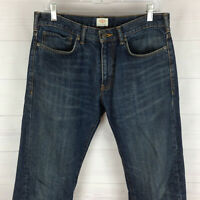 DOCKERS mens size 32 x 30 blue dark wash mid rise 100% cotton straight fit jeans