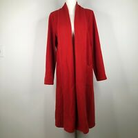 Eileen Fisher Cardigan Sweater Womens S Red Wool Long Open Front Collared Knit