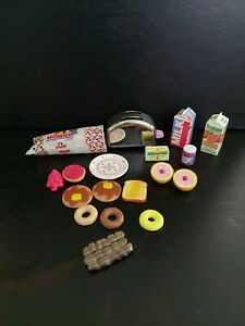 Vintage Barbie Kitchen Littles Toaster Plate with Breakfast Food Accessories