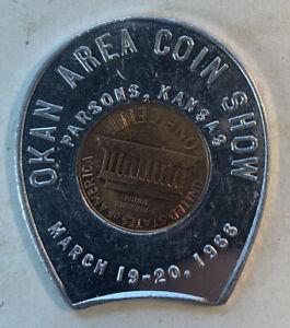 1964 Encased Lincoln Cent Good Luck Token 1966 Parsons Kansas Coin Show Souv