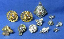 Vintage Sterling Masonic Masons & Elk Fraternal Pins & Earrings Lot Of 12