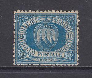 San Marino Sc 7a MOG. 1890 10c blue Coat of Arms