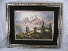 Antique Painting Oil on Canvas - Mountains View - Signed Kris Gentile