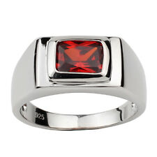 Sterling Silver Men Ring 925 Jewelry Rectangular Garnet Red CZ Size 11 January