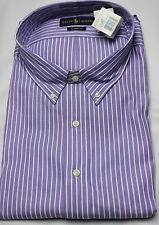 Polo Ralph Lauren Dress Shirt Mens 19 38 39 Classic Fit Purple White Brown Pony