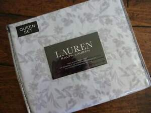 RALPH LAUREN GRAY WHITE Farmhouse Cottage FLORAL QUEEN XDP SHEET Set 4PC