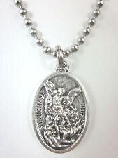 """St Michael Archangel /Guardian Angel Medal Necklace 24"""" Ball Chain Gift Box"""