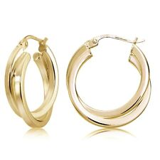 Gold Flash Silver Square-Tube Double Twisted 25mm Round Hoop Earrings