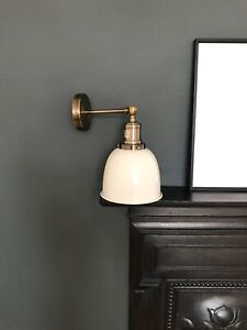 Bothy Industrial Wall Light Vintage White Shade Antique Brass Period Finish