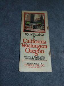 ORIGINAL CIRCA 1930 UNION OIL CO. CALIFORNIA, OREGON, WASHINGTON MAP BOOKLET