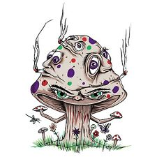 High Mushroom Funny Shroom Smoking Joint Cartoon Vinyl Sticker Window Bumper New