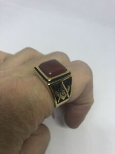 Gold  Plated Stainless Steel Genuine Carnelian Size 8.75 Men's Free Mason Ring