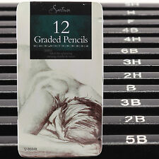 Set Of 12 GRADED ART SKETCHING PENCILS IN TIN CASE H,B Drawing/Shades/Light/Dark