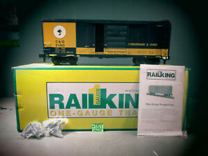 RAIL KING ONE -GAUGE TRAINS 70-74071 CHESAPEAKE & OHIO 40'BOX CAR G GAUGE O.B.