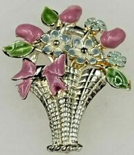 """Vintage Enamel Flowers in a Basket Bouquet Silver Tone Brooch 2-3/16"""" H"""
