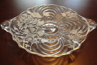 Glass Footed Cake Plate SILVER OVERLAY ANTIQUE etched flowers [GL4]