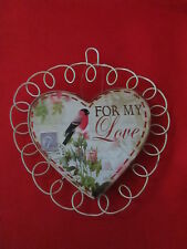 Wood & Metal Valentines Day Heart Message Plaque, For My Love, NWT