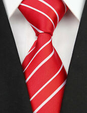 BNT0065 Red White Stripes Classic JACQUARD Woven Silk Men's Tie Necktie BowtieS#