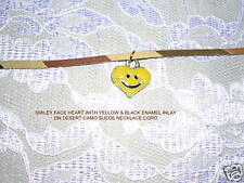 """CUTE PEWTER HEART SMILEY FACE YELLOW INLAY 18"""" NECKLACE"""