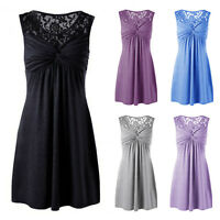 Women Summer Pleated Sleeveless Lace Evening Party Short Mini Flare Skater Dress