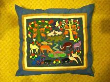 VTG Homemade Animals Nature Throw Pillow Monkeys Deer Goats Birds Bears Peacocks