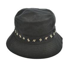 Authentic HERMES MOTSCH Logos Hat Black Polyester #56 Vintage France K06816