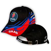 SAAB Noir Rouge Casquette Brode Auto Voiture Logo Chapeau Baseball Cap Homme