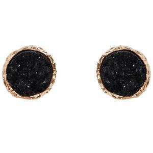Humble Chic Women's Round Simulated Druzy Studs - Sparkly Circle Post Earrings