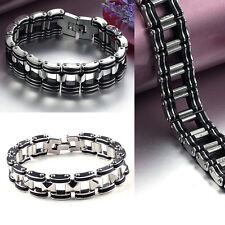 Men's Silver Stainless Steel Rubber Motorcycle Biker Chain Link Bracelet  Ne,fr