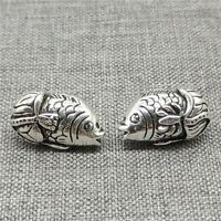 3pcs of 925 Sterling Silver Fish Beads 2-Sided for Bracelet Necklace