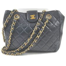 Chanel Shoulder Bag Quilted Cain Tote Vintage Black Leather 1601702