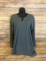 Womens Exofficio Long Sleeve Tunic Top Shirt Size Medium Blue Blouse Keyhole L/S