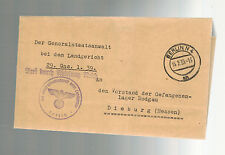 1939 Germany Cover Frm Attorney General Denying Request to Rodagau Prison Warden