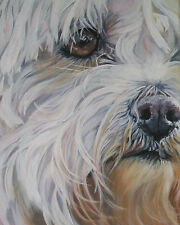 MALTESE dog portrait art canvas PRINT of LAShepard painting LSHEP 8x10