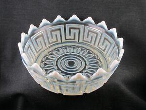 DOUBLE GREEK KEY 8 INCH WHITE OPALESCENT BOWL NICKEL PLATE  GLASS CO EAPG 1880S