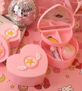 Super Cute Girls Jewelry Box Case Storage Organizer Makeup Case c/w Mirror Gifts