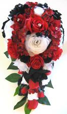 Wedding Bouquet 17 piece Bridal bouquets set Silk flowers APPLE RED BLACK WHITE