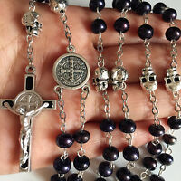 silver skull Black Real Pearl Beads catholic Rosary Prayer Necklace crucifix box
