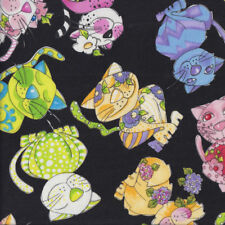 Colourful Happy Calico Cats on Black Loralie Designs Quilting Fabric FQ or Metre