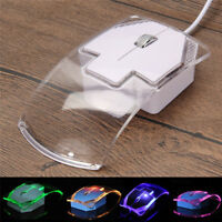 USB Wired Mouse Transparent Ultra Thin Luminous Optical Mice for PC Laptop FBHN