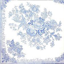 3x Single Paper Napkins For Decoupage Tissue Blue China Porcelain Flowers M288