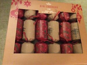 "BNIB New 6 Mini Christmas Crackers 8"" - Red & Brown - Gift Hat Motto"