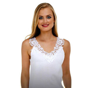 NEW Ladies 100% Cotton Vest 'White'