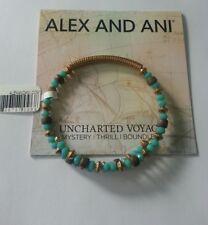 ALEX and ANI Uncharted Voyage Aqua Sea Glass Wrap Beaded Bangle BRACELET NWT BOX