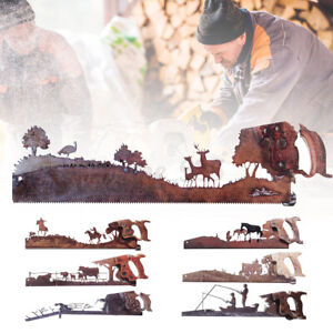 Metal Crosscut Saw Shape Wall Art Ornament Gift Home Hanging Crafts Rustic Style
