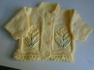"""New Hand Knitted Yellow Cardigan 20"""" chest (aprox 1 year)"""