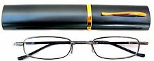 Mr.Reading Glasses [+2.50] 1 Metal Frame Gunmetal Reader Match Case Hinged 2.50