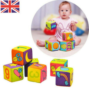 6pcs Cotton Baby Cloth Building Blocks Rattle Soft Cubes Toy with Bell Rattle UK