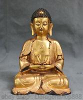 "7.4 ""marqué Tibet violet Bronze 24K or doré Sakyamuni Tathagata Bouddha Statue"
